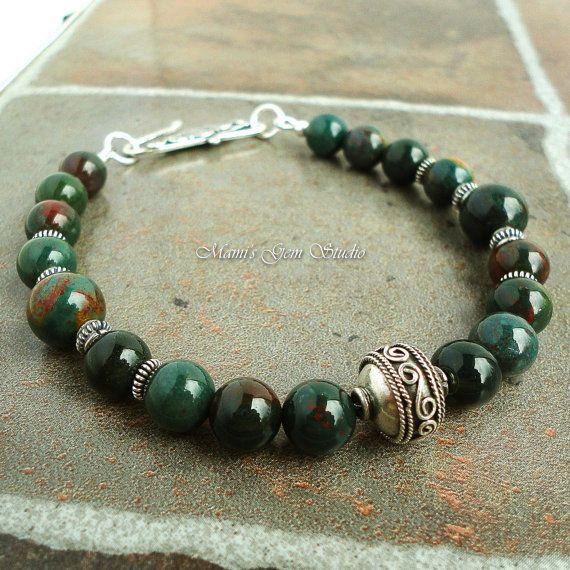 Mens Bloodstone Bracelet with Bali Sterling Silver