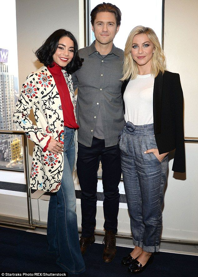 Greased up:Also at the radio show was Vanessa's Grease co-star Julianne Hough and Aaron T...