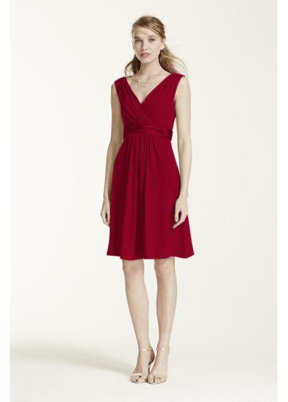 Sleeveless Jersey Dress with Charmeuse Waist Band E44239