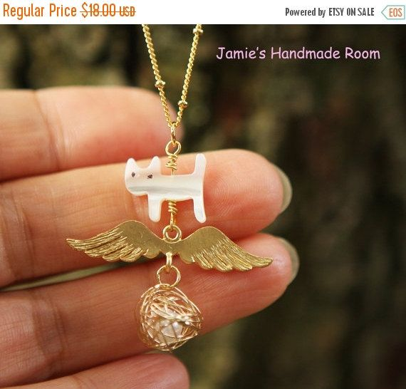 Flying Dream Love Cat Necklace Goldplated Ball by Prettybox4her