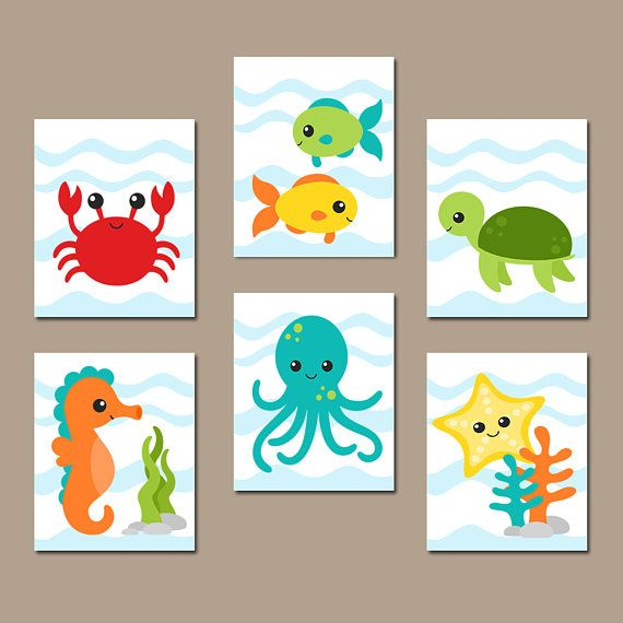 OCEAN Animals Wall Art, Ocean Animal Bathroom Decor Canvas or Print Under the Sea Animals Bathroom, Child Kid Bath Decor, Set of 6 Artwork