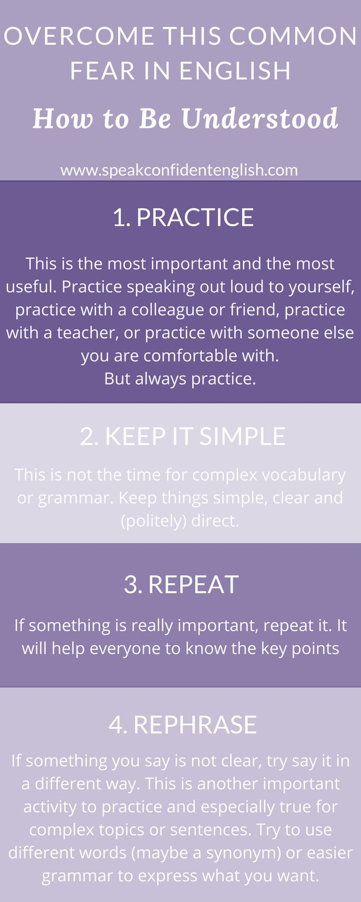 Do you always feel afraid and nervous to speak in English? Do you worry someone won't understand you? Afraid to make mistakes? Use these simple tips to overcome the fear of being misunderstood in English. And learn more at: http://www.speakconfidentenglish.com/conquer-english-fears/?utm_campaign=coschedule&utm_source=pinterest&utm_medium=Speak%20Confident%20English%20%7C%20English%20Fluency%20Trainer&utm_content=How%20to%20Conquer%203%20Common%20Fears%20When%20Speaking%20English