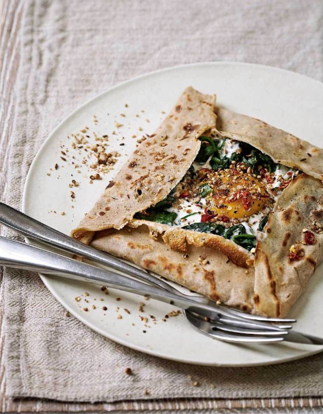 Turkish Spinach Galette from Rachel de Thample's FIVE cookbook. These incredible buckwheat pancakes are gluten free and are filled with a runny egg yolk for dipping.