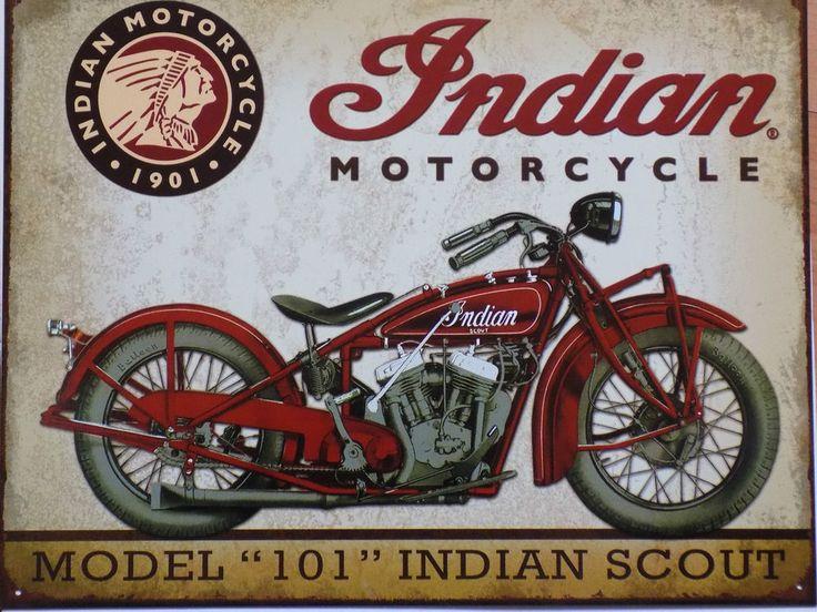 PLAQUE METAL PUBLICITAIRE VINTAGE usa moto biker INDIAN motorcycle SCOUT 40X30CM