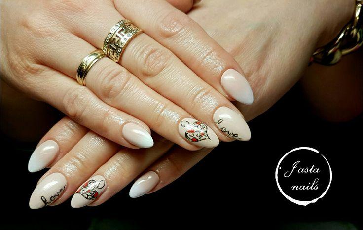 Walentynkowe paznokcie, biżu nails