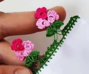 Yapraklı Salkım Çiçek Tığ Oyası Yapımı