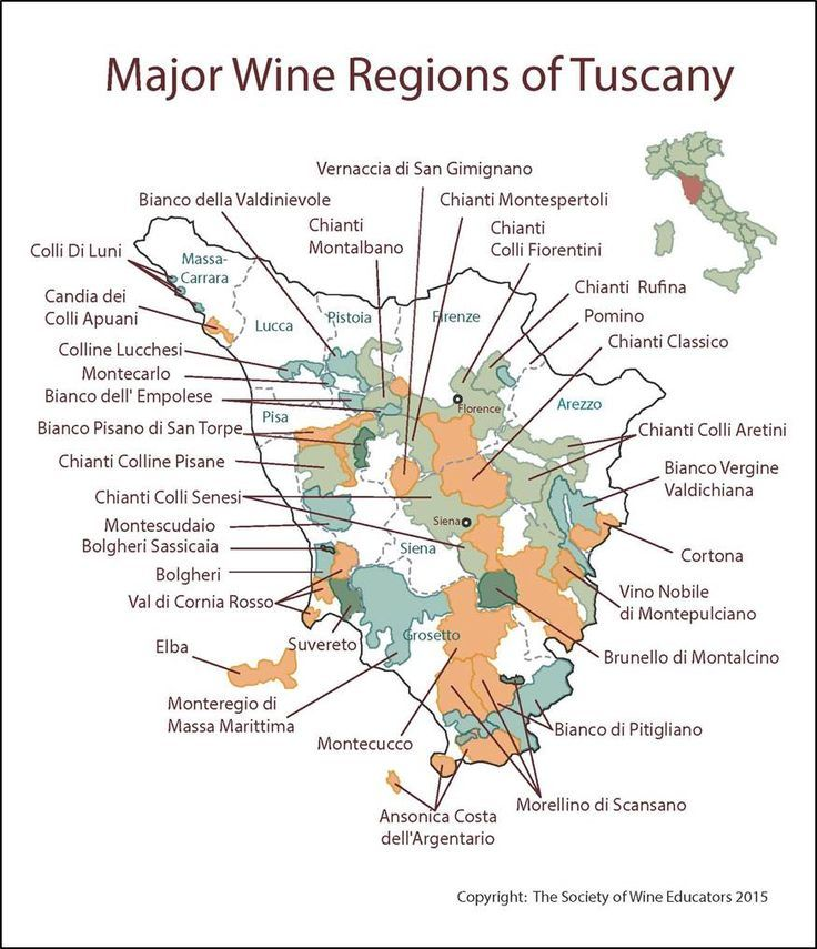 Major wine regions of Tuscany