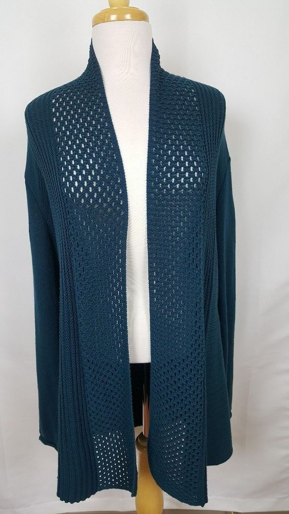 89th & Madison Teal Blue Cardigan Sweater Open Ribbed Long Sleeve Sequin XL #89thMadison #Cardigan