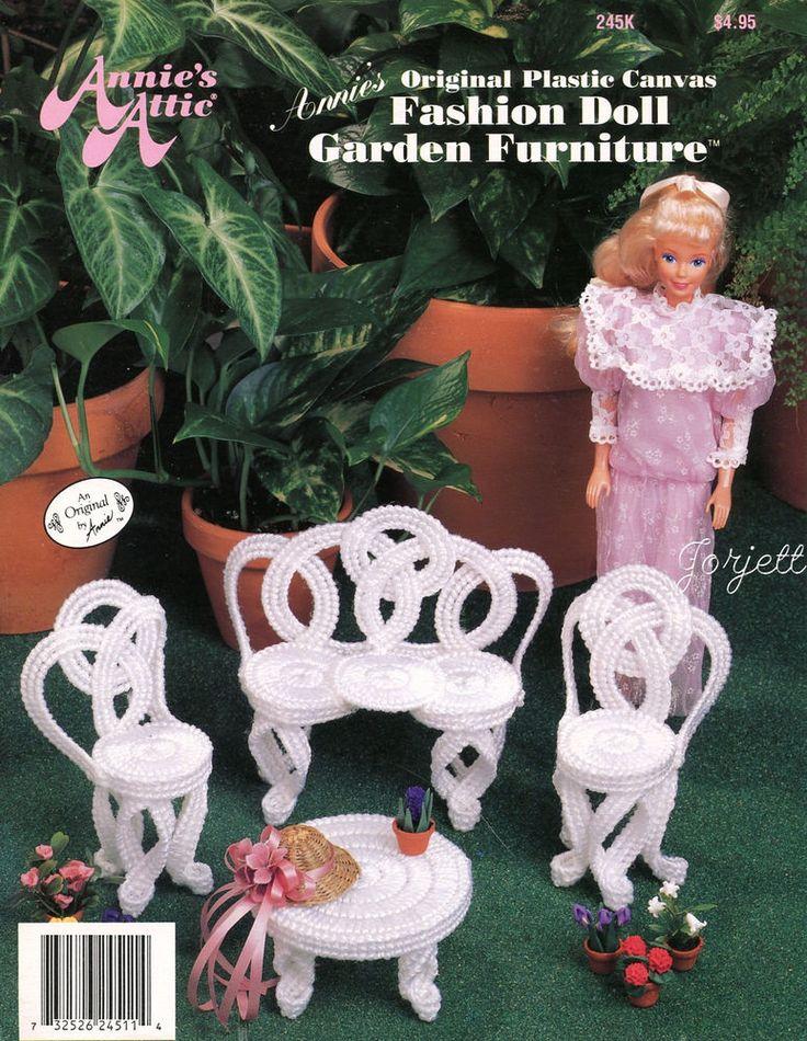 Garden Furniture, Annie's plastic canvas patterns fit Barbie fashion dolls #AnniesAttic #Fashiondollaccessories