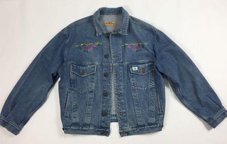 Ray guy jacket jeans XL blu giacca giubbino vintage ricami retro fattoria T1435