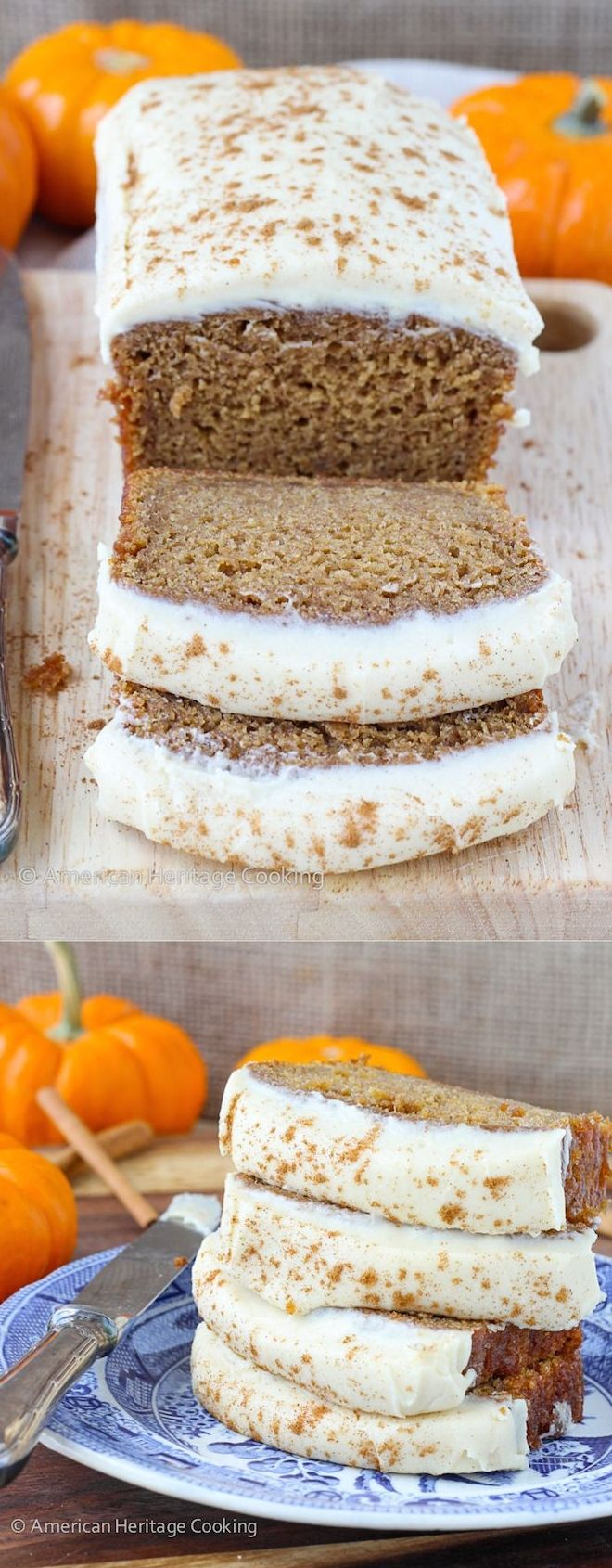 This Healthier Pumpkin Banana Bread is generously spiced and is made using applesauce and spelt flour, and then spread with an addicting Maple Caramel Cream Cheese Icing.