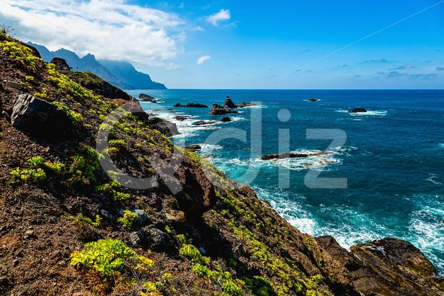 Qdiz Stock Photos | Coast of ocean with rock,  #Atlantic #blue #Canary #cloud #coast #green #horizon #island #landscape #mountain #nature #ocean #scenicviewnature #sea #shore #sky #skyline #Spain #summer #Tenerife