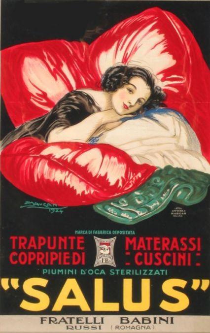 """By Mauzan Achille Lucien, 1926, """"Salus""""  Trapunte materassi, Copripie di cuscini, Italia."""