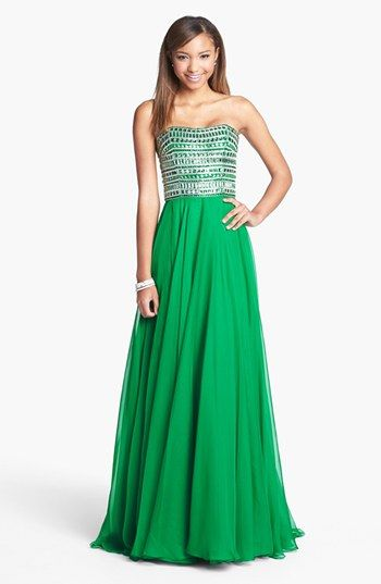 Sherri+Hill+Embellished+Strapless+Chiffon+Gown+(Online+Only)+available+at+#Nordstrom