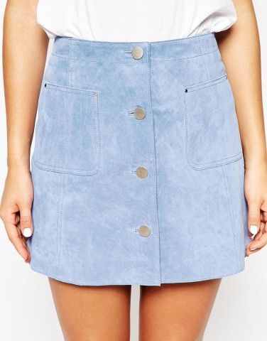 We're all about the blue suede. Try this skirt from ASOS.