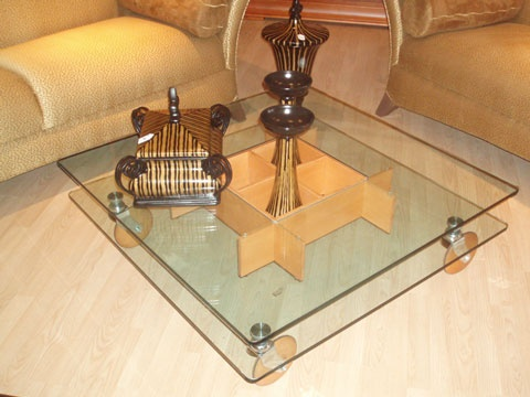 two layer Coffee table on wheels