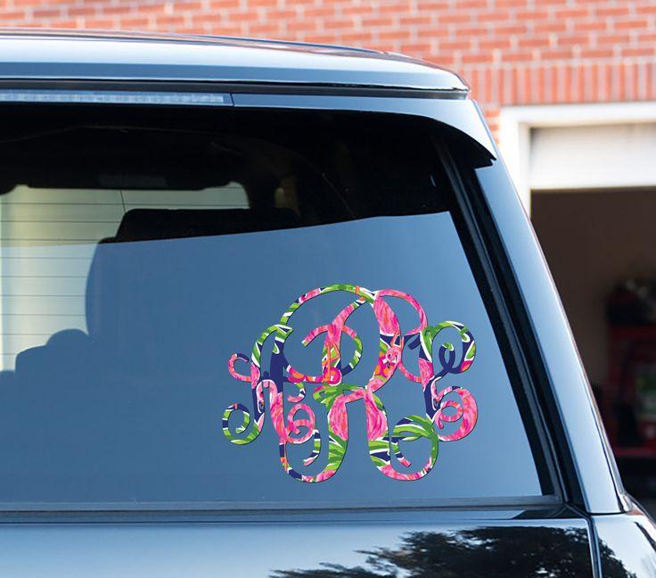 Preppy flamingo monogram car decal car stickers car decor cute car accessories lilly inspired car decals