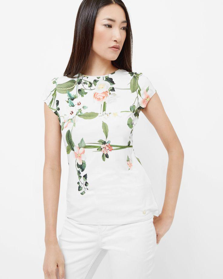 Secret Trellis T-shirt - Cream   Outlet   Ted Baker UK