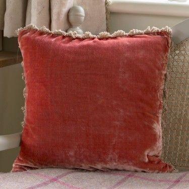 handmade velvet cushion in red