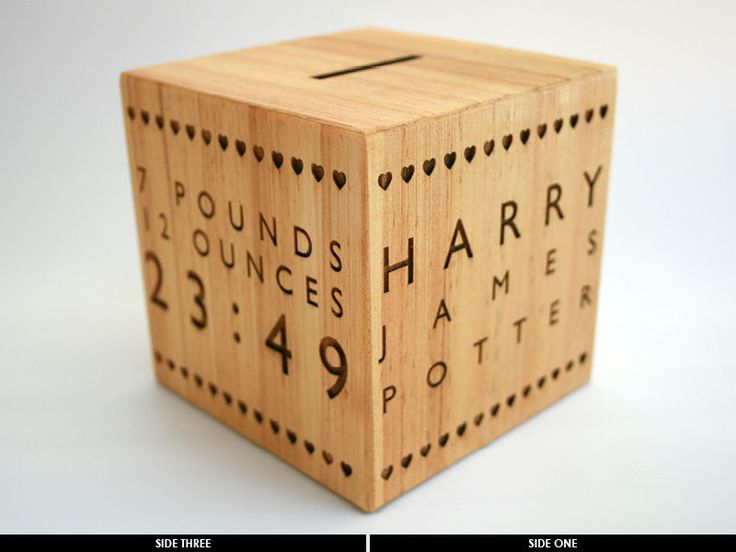 Personalised Wooden New Baby Money Box, Fabulous Keepsake Gift, 100x100x100mm