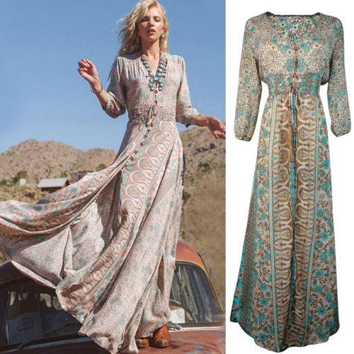 Dress-Bohemian-Long-Chiffon-satin-Summer-Casual-Chiffon-Floral-Maxi-Long-Dress