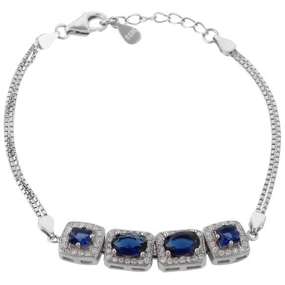 Define Jewellery Blue Silver American Diamond bracelet for Women (DFBC0027 )
