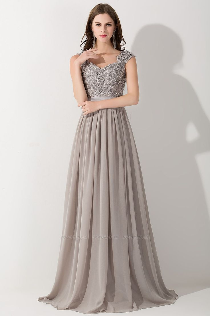 A-Linie Chiffon V-Ausschnitt Ärmellos Rüschen Bodenlang Brautjungfernkleid mit …   – BMbridal