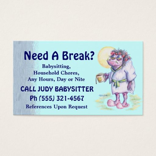 150 best Babysitting Business Cards images on Pinterest - babysitting on a resume