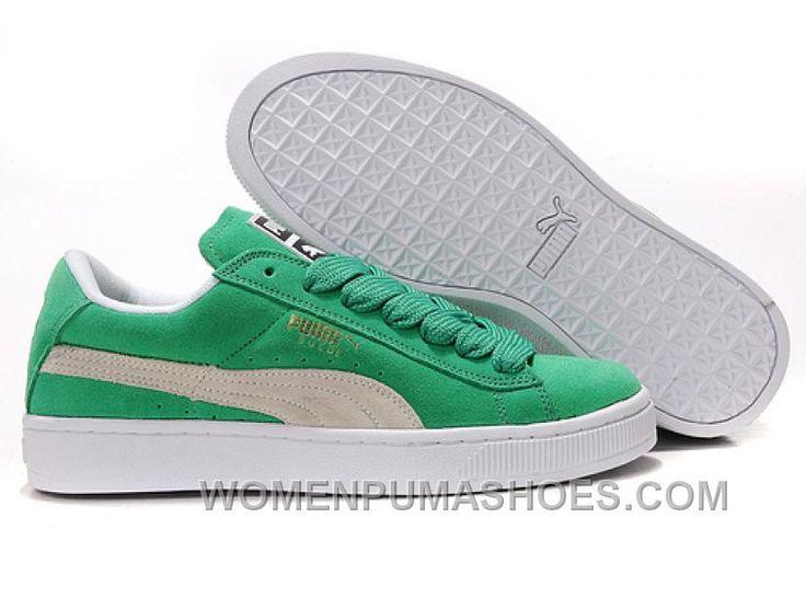 Women's Puma Suede Green-White Cheap To Buy Mspym
