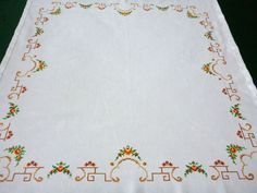 30 % off SALE Vintage white cotton tablecloth Cross by Retroom