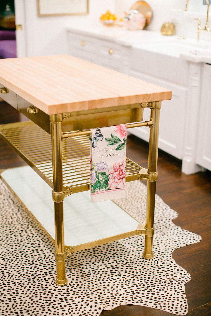 Gold Kitchen Island + Animal Print Rug