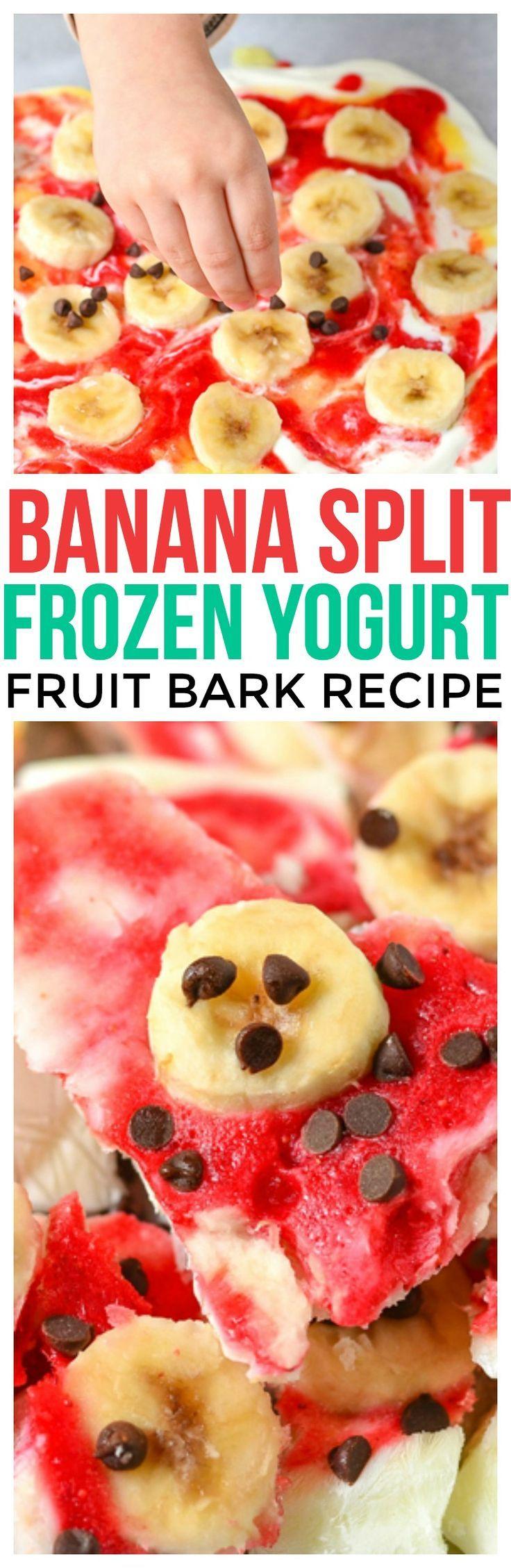 Banana split frozen yogurt bark