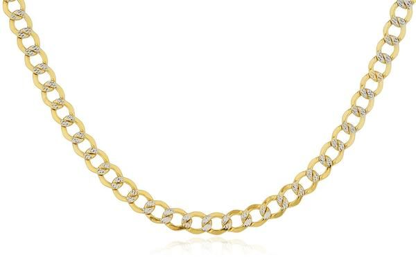 Ioka 14K Yellow Solid Gold 2mm Cuban White Pave Chain Necklace with Spring Ring Clasp