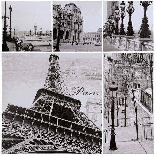 Ensemble 5 Fotos Paris klein modell - Leinwände und Hängerahmen - Maisons du Monde found on Polyvore