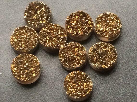 4 Pcs Dark Antique Gold Titanium Druzy Drilled by gemsforjewels