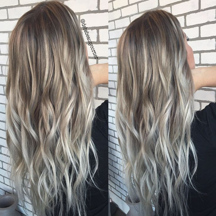 Ashy blonde balayage hair painted by @debsbeautycorner