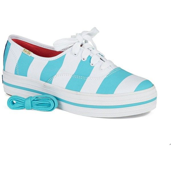 Kate Spade New York Triple Kick Sneakers ($95) ❤ liked on Polyvore featuring shoes, sneakers, blue, blue canvas sneakers, striped shoes, kate spade shoes, stripe shoes and striped canvas shoes