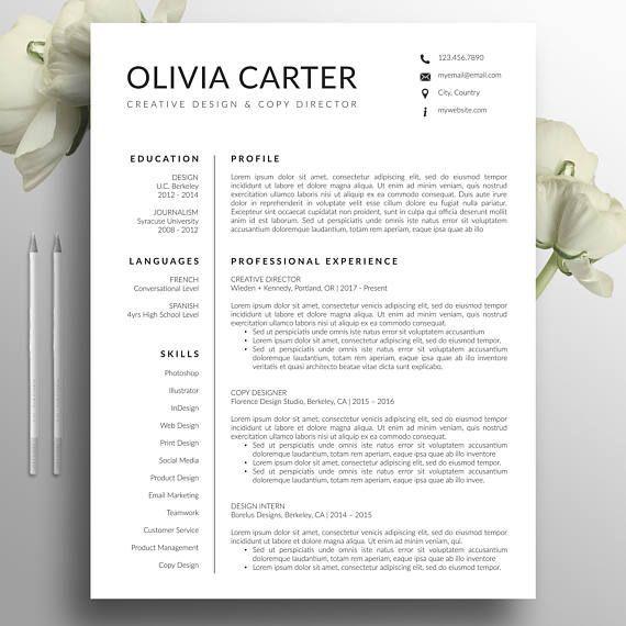 Modern Resume Template Cover Letter Word Mac Us Letter A4 Cv Template Cre Vorlagen Lebenslauf Bewerbung Lebenslauf Lebenslauf Design