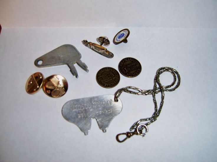 Vintage Crosby Square Golf Spike Wrench and Other Golf Mics Buttons/Pins/...