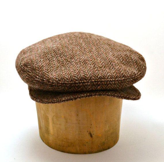 Retro Driving Cap in Vintage Harris Tweed  Men's by HatsWithAPast, $75.00