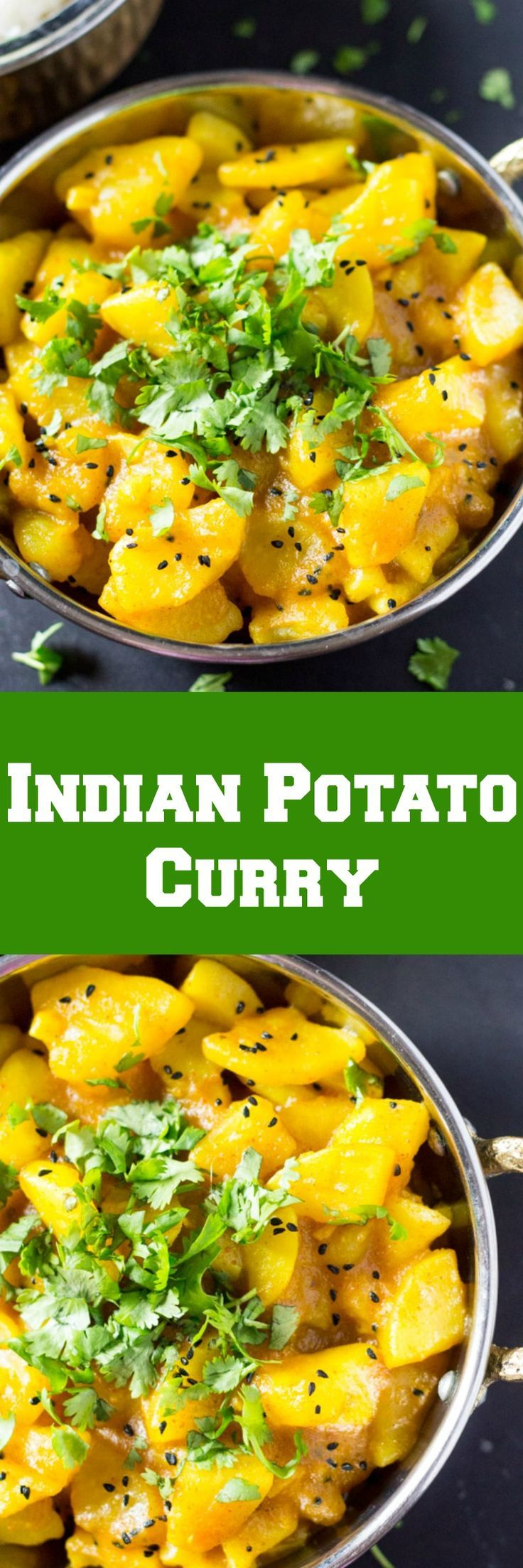 This six ingredient potato curry is super easy and delicious! It doesn't require any special indian spices and is ready in just 30 minutes!