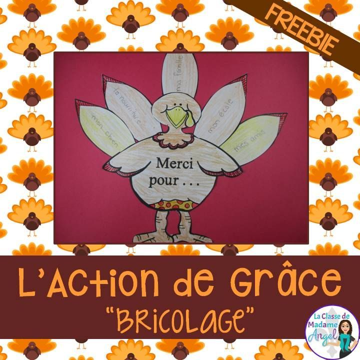 L'Action de Grâce freebie! Fun and easy craft for Thanksgiving in French!
