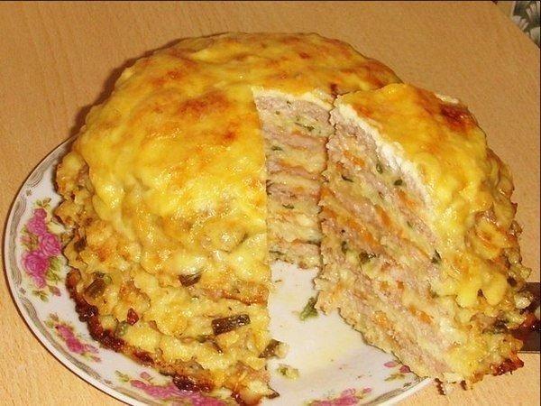 Капустный торт  Ингредиенты:  Для теста:  - капуста - 300 г (Капусту мелко нарезать, проварить...