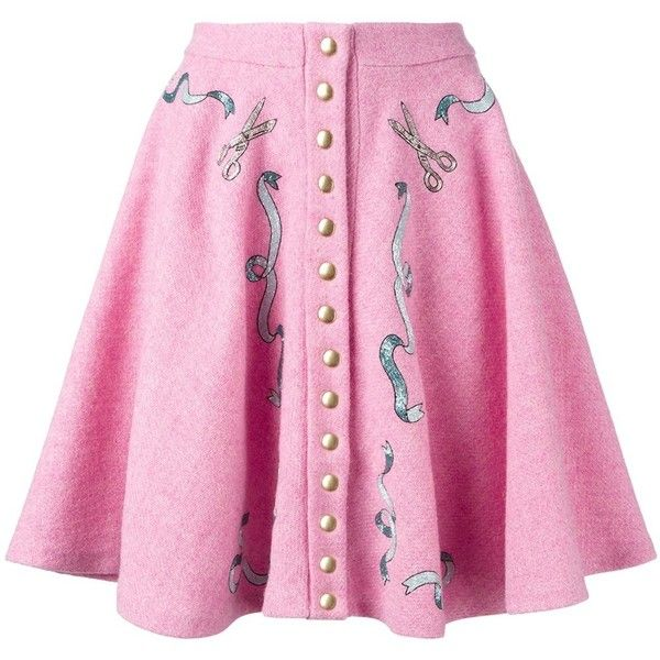 Olympia Le-Tan pleated button-up skirt (€900) ❤ liked on Polyvore featuring skirts, pink, button up skirt, pleated skirt, button down skirt, pink pleated skirt and knee length pleated skirt