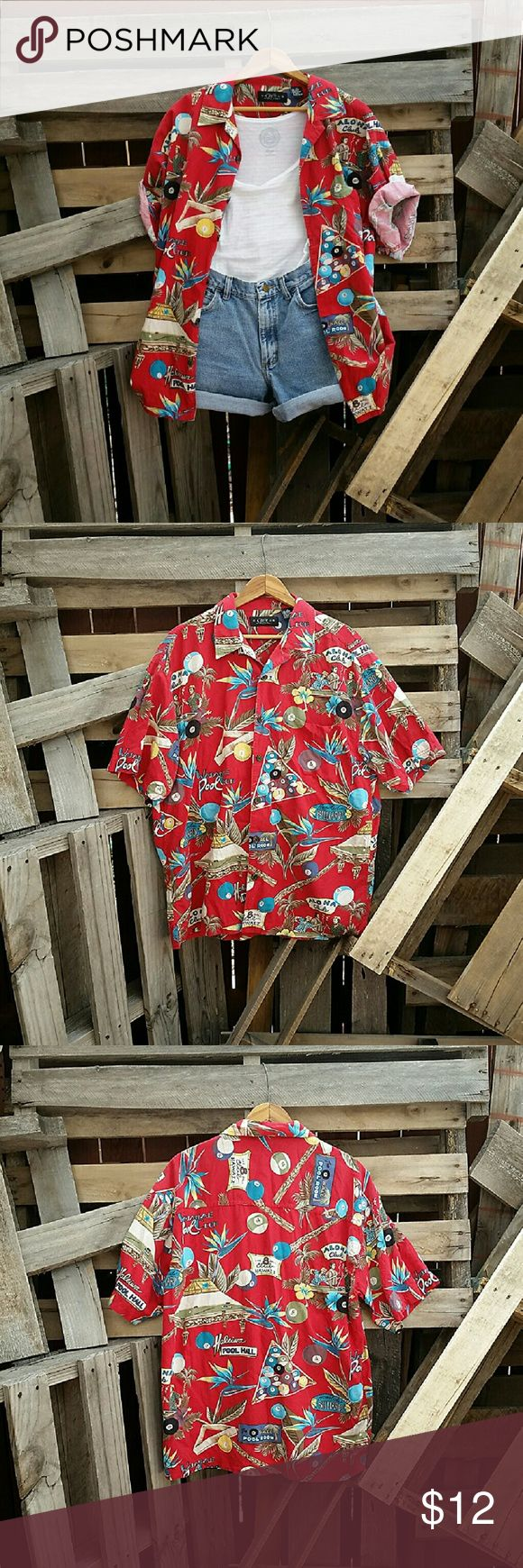 Vintage '90s Medium Stoner Grunge Hawaiian Shirt This vintage hawaiian shirt is…