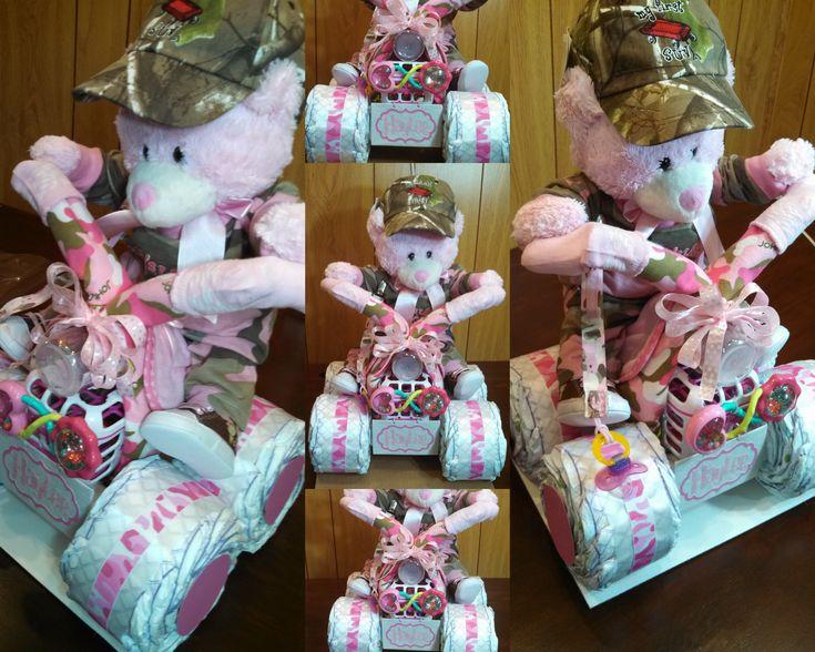 Pink Camo 4 Wheeler / Quad Diaper Cake