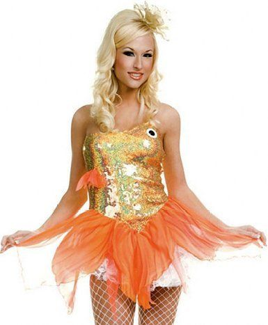 ML70171 Music Legs Costume Sexy Gold Fish Fancy Dress Costume