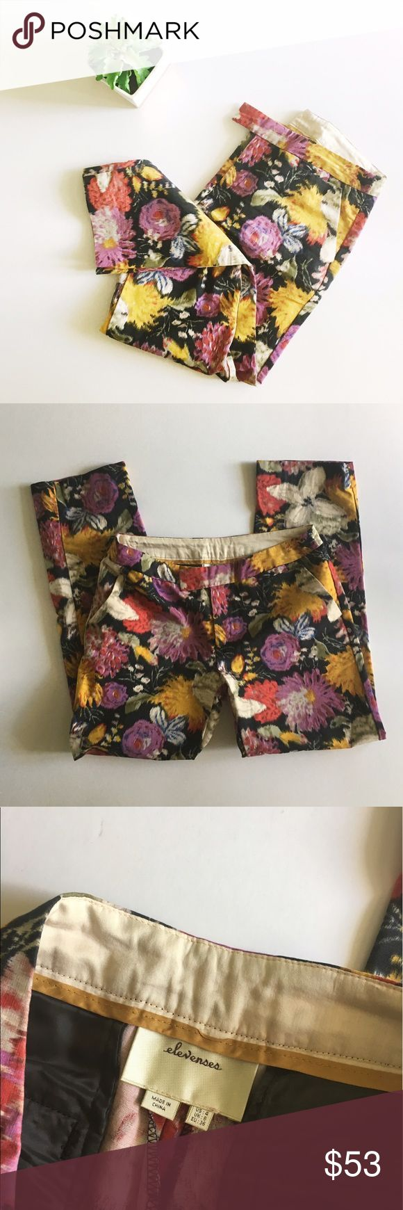 Anthropologie Elevenses Floral Ankle Pants Anthropologie brand Elevenses Floral pants size 4. 100% cotton, has little stretch. No stains or holes, make an offer! Anthropologie Pants Ankle & Cropped