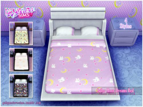 gabymelovesims: Sailor Moon Dreams Bed By. Gabymelove Camas con colchas inspiradas en Sailor Moon. 4 Estilos diferentes. 4Shared | Dropbox | Mediafire | Mega |