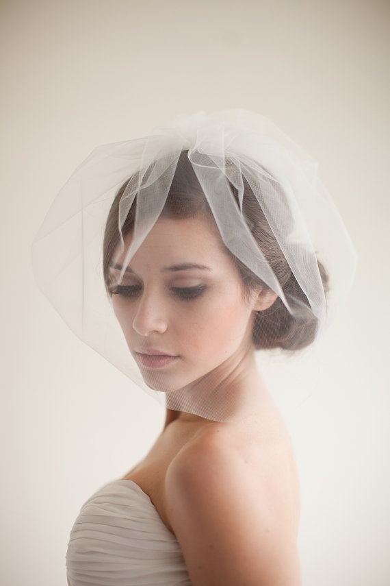 Double Layer Tulle Blusher Veil, Tulle Veil, Birdcage Veil, Wedding Veil, Bridal Veil - Chloe  MADE TO ORDER